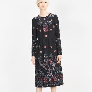 Zara Black Floral Embroidered Long Sleeve Dress L